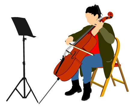 soloist: Young cellist vector siting and playing cello on white background. Illustration