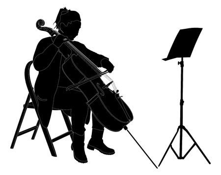 Young cellist vector silhouette siting and playing cello on white background.