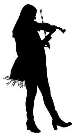 concerto: Beautiful young woman playing violin vector silhouette isolated on white background. Illustration
