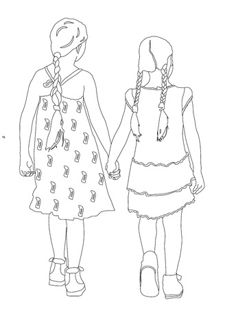 two girls: Two girls walking and holding hands vector illustration.