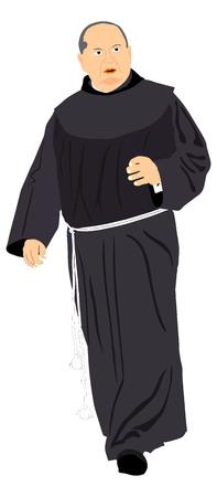 Monk, catholic priest vector illustration isolated on white background.