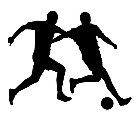 racking: Isolated poses of soccer players in duel vector silhouettes on white background. Very high quality detailed soccer football player silhouette cutout outlines.