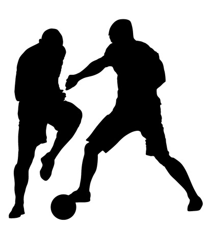 duel: Isolated poses of soccer players in duel vector silhouettes on white background. Very high quality detailed soccer football player silhouette cutout outlines.