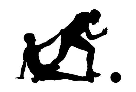 duel: Isolated poses of soccer players in duel vector silhouettes on white background. Very high quality detailed soccer football player silhouette cutout outlines. Fault situation.