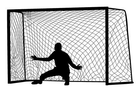 strain: Soccer goalkeeper silhouette vector. Goalkeeper silhouette black. Goalkeeper icon and net isolated on white background.