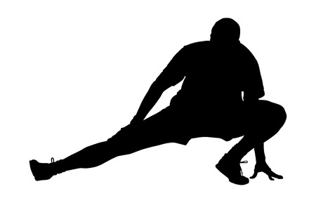 strain: Soccer player silhouette vector isolated on white background. High detailed football player silhouette cutout outlines. Strain, racking, warming up, stretching.