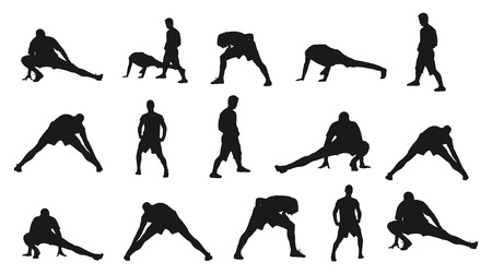 strain: Soccer players silhouette vector isolated on white background. High detailed football player silhouette cutout outlines. Strain, racking, warming up. Stretching.