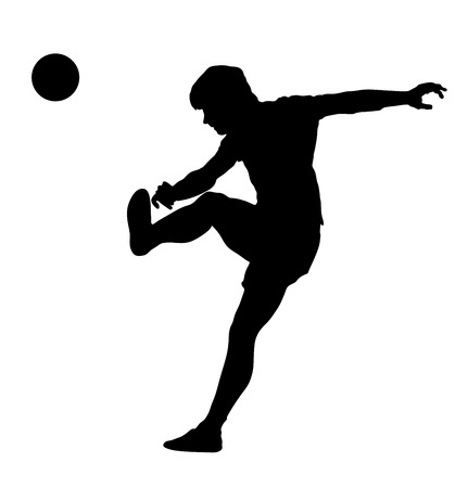 racking: Soccer player silhouette vector isolated on white background. High detailed football player silhouette cutout outlines. Kicking a ball.