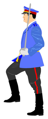 bearskin hat: Army general with sword vector illustration on military parade. Soldier on duty.
