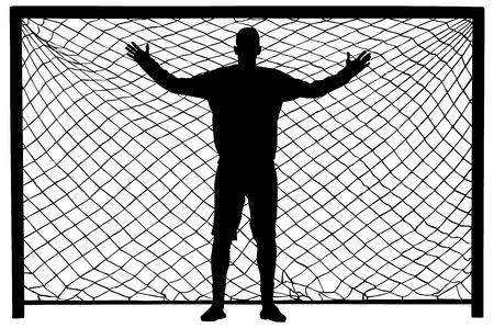 arquero futbol: Portero de fútbol silueta del vector. Portero negro silueta. icono portero y red aislados sobre fondo blanco.