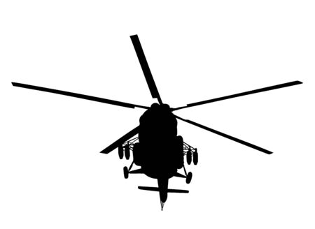 Silhouette of a military helicopter vector illustration isolated on white background. Part of strong army weapon. Transportation aircraft for combat.  Chopper in air in evacuation action. Whirlybird. Banque d'images - 128066196