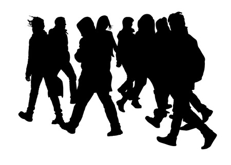 busy street: Busy city street people on zebra pedestrian crossing vector silhouette illustration isolated on white background.