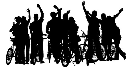young group: Sport tourist company friends on bicycles . Silhouette people, mountainbike, backpacks, helmets. Friendship, leisure, summer, group of smiling friends on city street and waving hands.