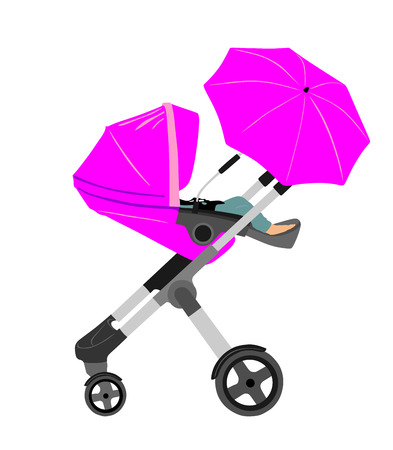 Pram with baby carriage.baby cart.vector illustration. Illustration