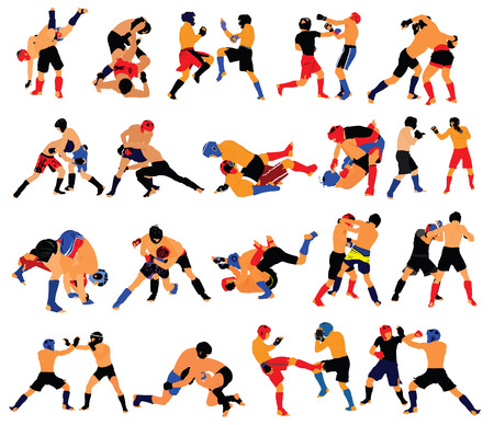 Group of mma fighters vector isolated on white background. Two mma fighters vector in battle. Illustration