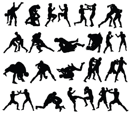 defend: Group of mma fighters vector silhouette isolated on white background. Illustration