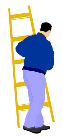 whitewash: Builder carrying a ladder illustration isolated on white background. Construction worker with ladder walking. Painter at work. Painter at work with ladder vector illustration isolated on white background. painter man at work with a roller, bucket. Illustration
