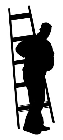 Painter at work with ladder vector silhouette illustration isolated on white background. painter man at work with a roller, bucket.