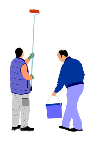 whitewash: Painters at work vector illustration isolated on white background. painter man at work with a roller, bucket. Illustration
