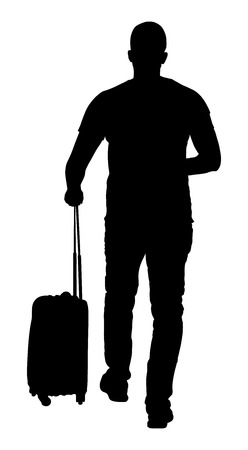 rolling bag: Young man seen from behind carrying his rolling suitcase vector silhouette illustration isolated on white background.