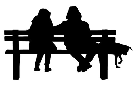 sweethearts: Couple on a bench with dog - Two lovers sitting on a bench in a park and holding themselves by hands - Concepts of autumn,love,togetherness,relationship. Romantic Couple on a Bench.