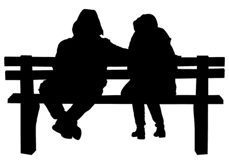 sweethearts: Couple on a bench - Two lovers sitting on a bench in a park and holding themselves by hands - Concepts of autumn,love,togetherness,relationship. Romantic Couple on a Bench. Illustration