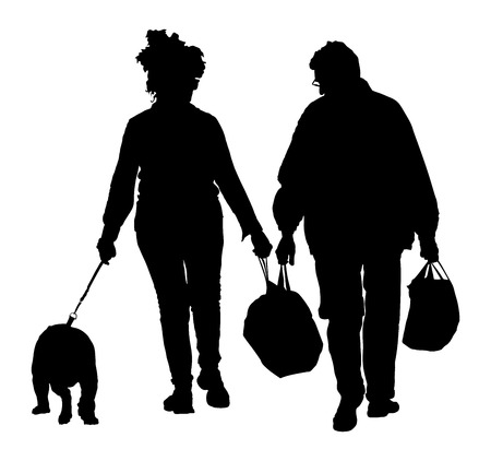 Senior couple holding hand and walking the street with dog. After shopping time in market. Happy elderly seniors couple together on white background.