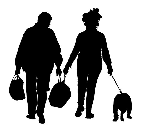 dog walking: Senior couple holding hand and walking the street with dog. After shopping time in market. Happy elderly seniors couple together on white background.