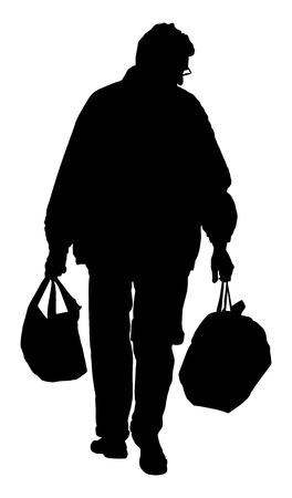 unrecognizable: lonely man with shopping bags walk after work, vector silhouette illustration isolated on white background. Illustration