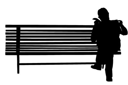 A lonely man sitting on a park bench and read newspapers, vector silhouette illustration.