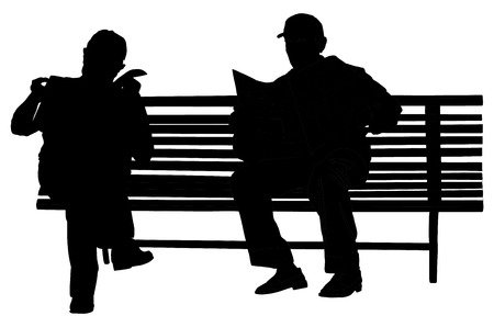 Two pensioners read newspapers on the bench in the park. Vector silhouette isolated on white background. Seniors lifestile. Vettoriali