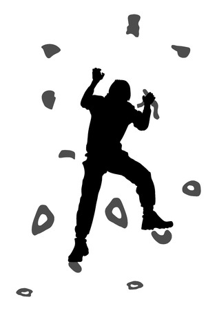 Young man climbing on a limestone wall, rock wall, vector silhouette illustration, isolated on the white background. Иллюстрация