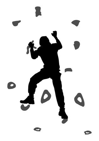 hang up: Young man climbing on a limestone wall, rock wall, vector silhouette illustration, isolated on the white background. Illustration