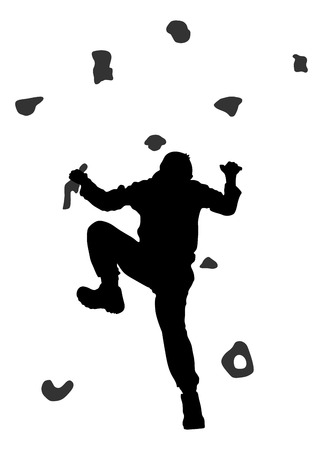 Young man climbing on a limestone wall, rock wall, vector silhouette illustration, isolated on the white background. Vettoriali