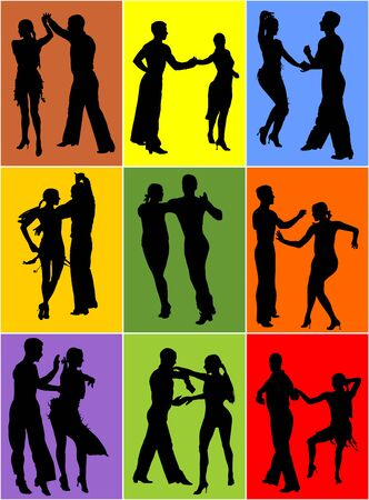 Elegance tango Latino dancers vector silhouette isolated on background. Dancing couple. Partner dance salsa, woman and man in love. lady and gentleman dance passionate Latin America salsa. Vectores