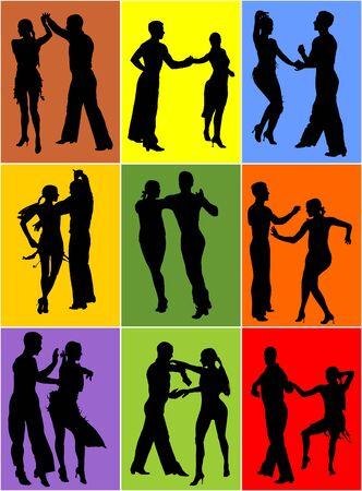 Silueta de vector de bailarines latinos de tango de elegancia aislada sobre fondo. Pareja de baile. Pareja de baile de salsa, mujer y hombre enamorados. dama y caballero bailan apasionadamente la salsa latinoamericana.