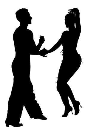 performer: Two elegance tango dancers vector silhouette. Isolated over white background. Dancing styles, Partner dance waltz, performer tango, woman and man. Vector illustration.