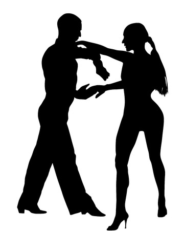 waltz: Two elegance tango dancers vector silhouette. Isolated over white background. Dancing styles, Partner dance waltz, performer tango, woman and man. Vector illustration.