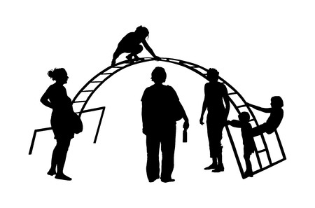 Children Playing at Playground Park Outdoor vector silhouette isolated on background. Mothers with children on playground.