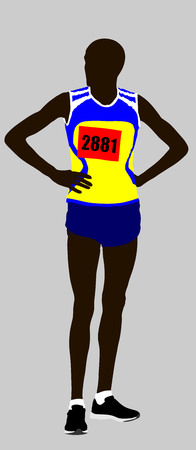 relay: Marathon runner waiting race on start vector illustration.