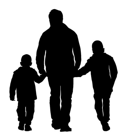 Father with kids vector silhouette illustration isolated on white background. Dad and two sons walking the street and holding hands. Fathers day.