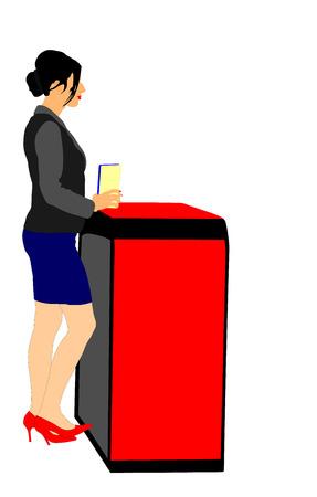 steward: Lady on reception. promoter. Office lady vector illustration isolated on white background. Hostess stewardess job.