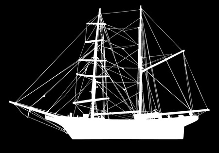 sail boat in silhouette vector illustration isolated on black background. Illustration
