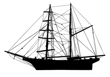 brigantine: sail boat in silhouette vector illustration isolated on background.