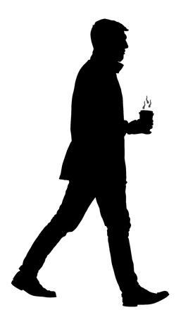 morning walk: Handsome businessman with coffee going to work vector silhouette illustration isolated on white background. Illustration