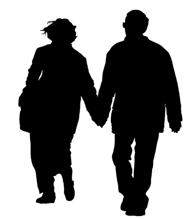 retire: Happy elderly seniors couple vector. Black silhouette together on white background.