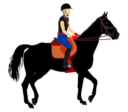 Paard en jockey geïsoleerd op een witte achtergrond.