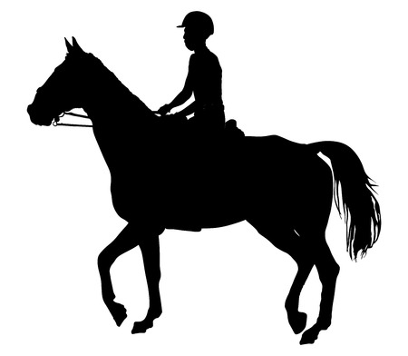 Horse and jockey vector silhouette isolated on white background.