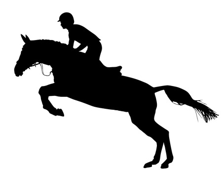 obstacle course: Horse at jumping vector silhouette isolated on white background.