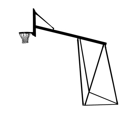 Basketball hoop on court vector silhouette illustration.